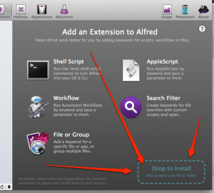 Installing Alfred App Extension